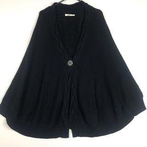 UGG anjeline knit poncho one button black